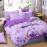 Комплект евро постельного белья бязь с цветами темное