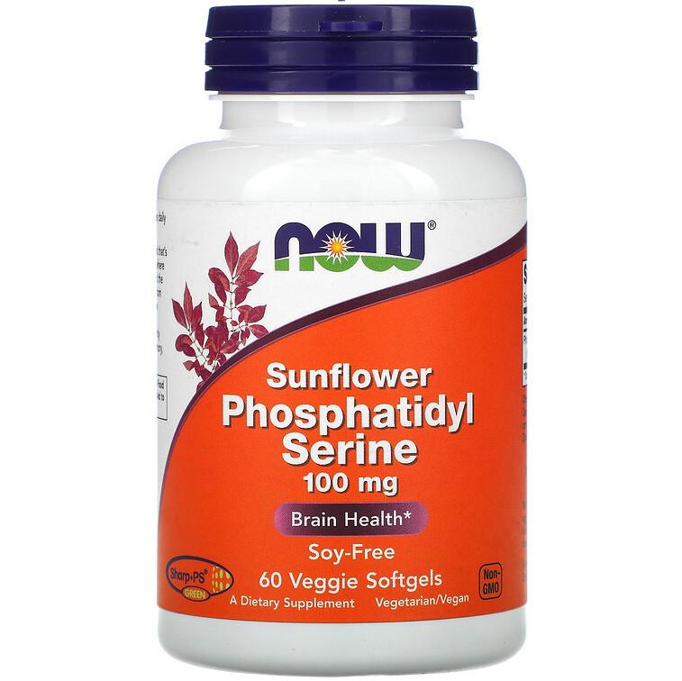 """Фосфатидилсерин из лецитина подсолнечника NOW Foods """"Sunflower Phosphatidyl Serine"""" 100 мг (60 гелевых капсул)"""