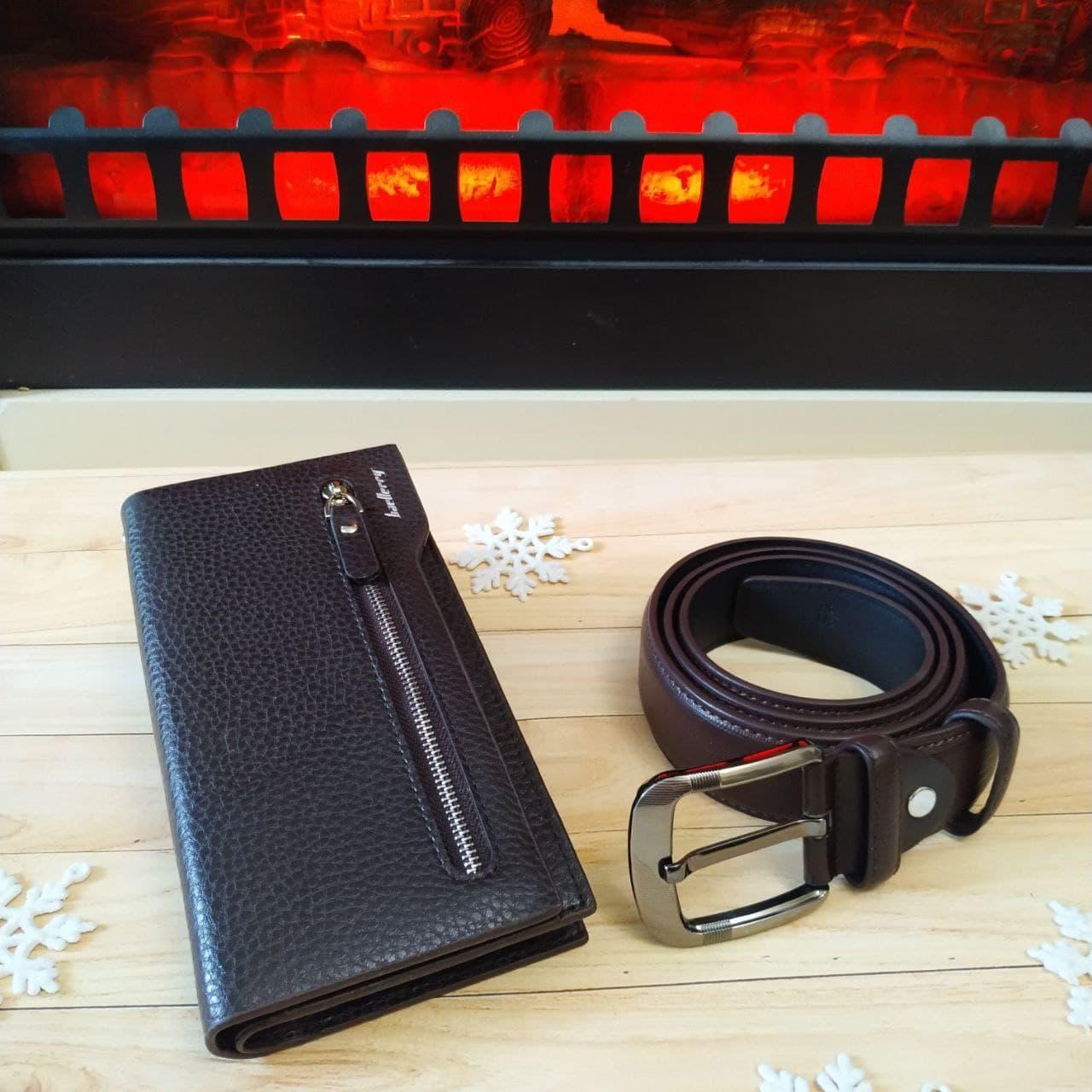 Подарочный набор мужской. Стильный молодежный портмоне Baellerry Monaco + ремень из прессованной кожи