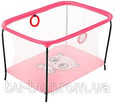 Манеж Qvatro LUX-02 мелкая сетка  розовый (panda)