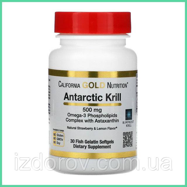California Gold Nutrition, Масло антарктического криля с астаксантином, 500 мг, 30 рыбно-желатиновых таблеток