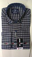 Кашемировая Мужская рубашка BOSETTI клетка приталенная  с длинным рукавом-трансформер