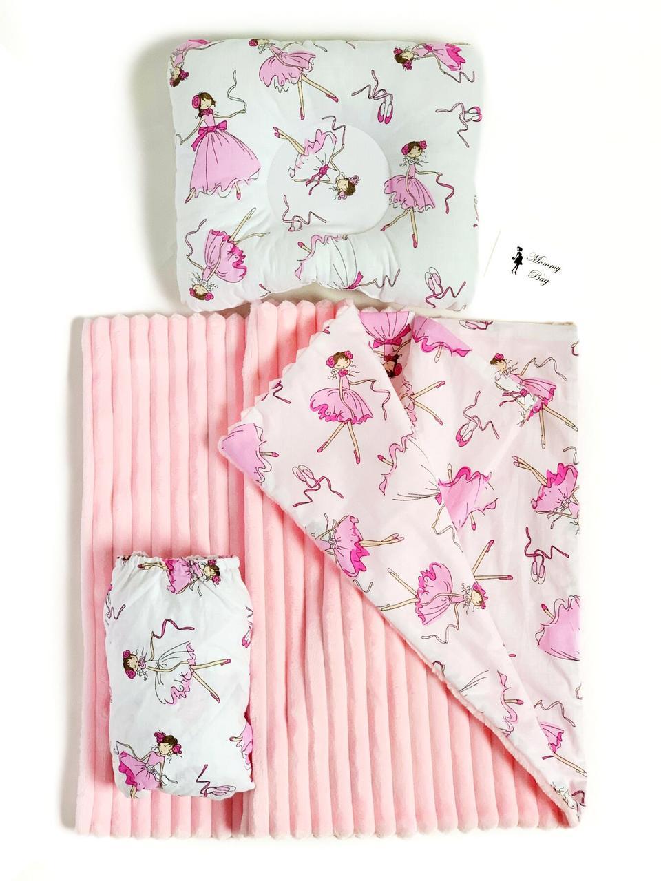 Набор в детскую кроватку 3в1 (простынь, плед, подушка) Балерины №11