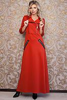Женское стильное платье макси в пол с молнией, фото 1