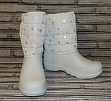 Чоботи жіночі зимові.Білі дутики (сноубутсы) на хутрі., фото 9