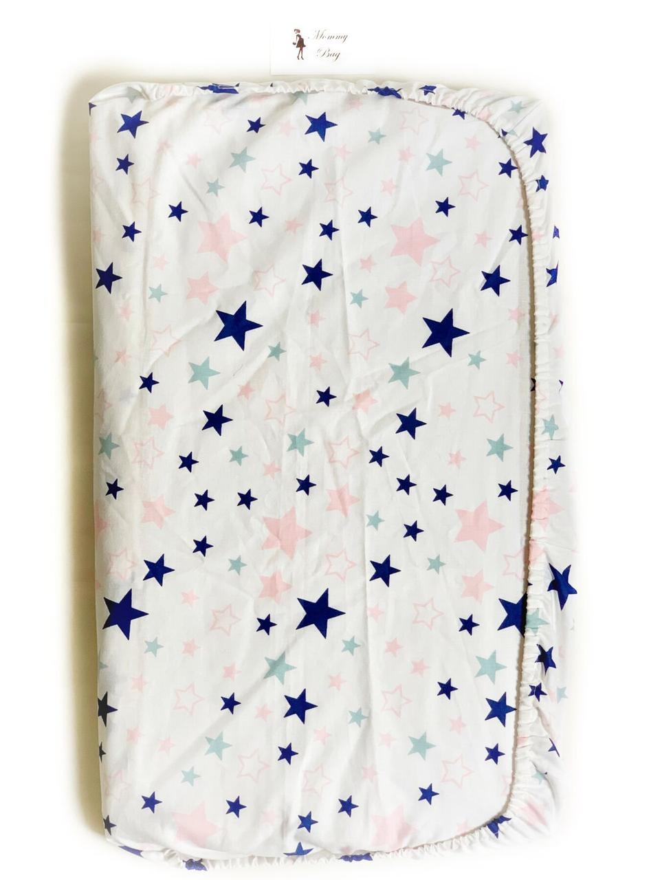 Простынь на резинке в детскую кроватку Звездочки арт.СТ-9