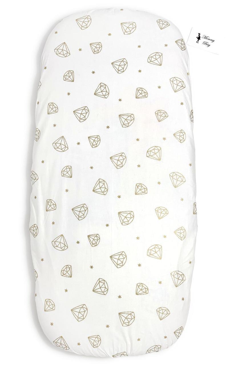 Простынь на резинке в детскую кроватку Бриллианты арт.СТ-13