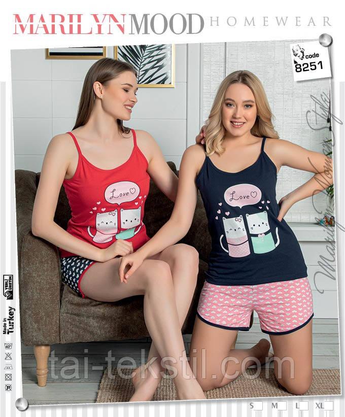 Пижама женская -комплекты майка и шорты хлопок 100% Турция № 8251