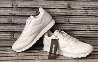Мужские кожаные кроссовки Reebok Classic. Демисезонные белые кроссовки. Индонезия. Реплика., фото 1