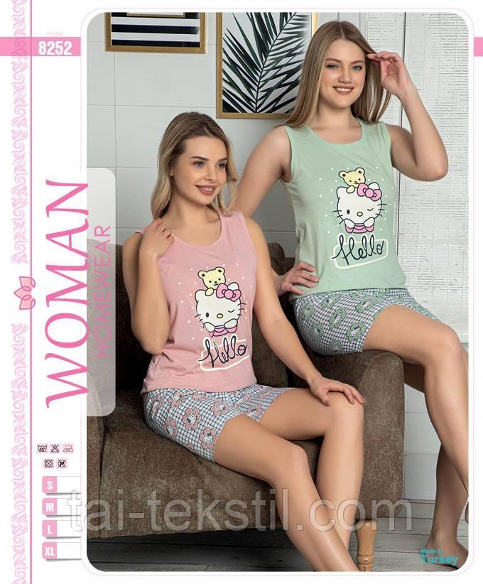 Пижама женская комплект майка и шорты хлопок 100% Турция № 8252