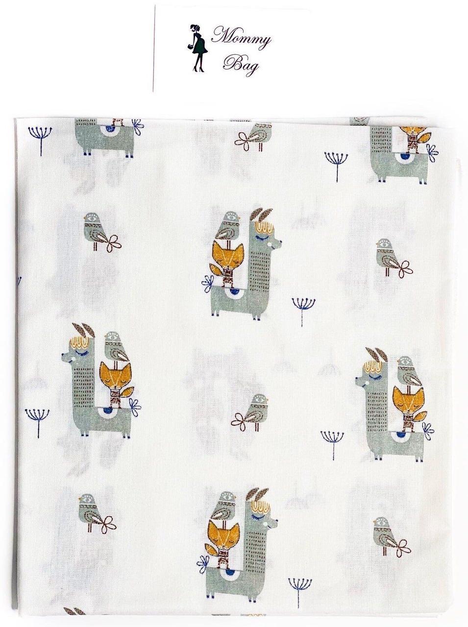 Пеленка ситец Ламы Серые #13