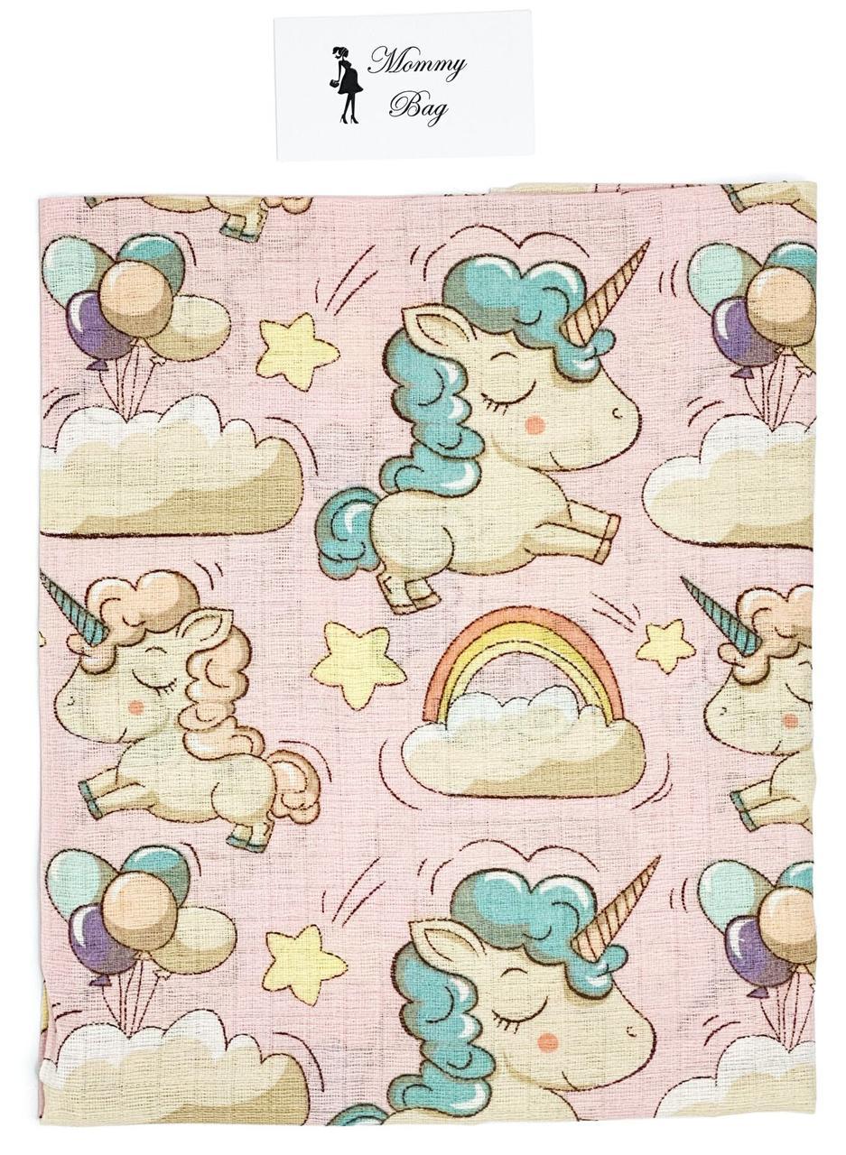 Муслиновая пеленка 100х80 см Розовые Единороги #5