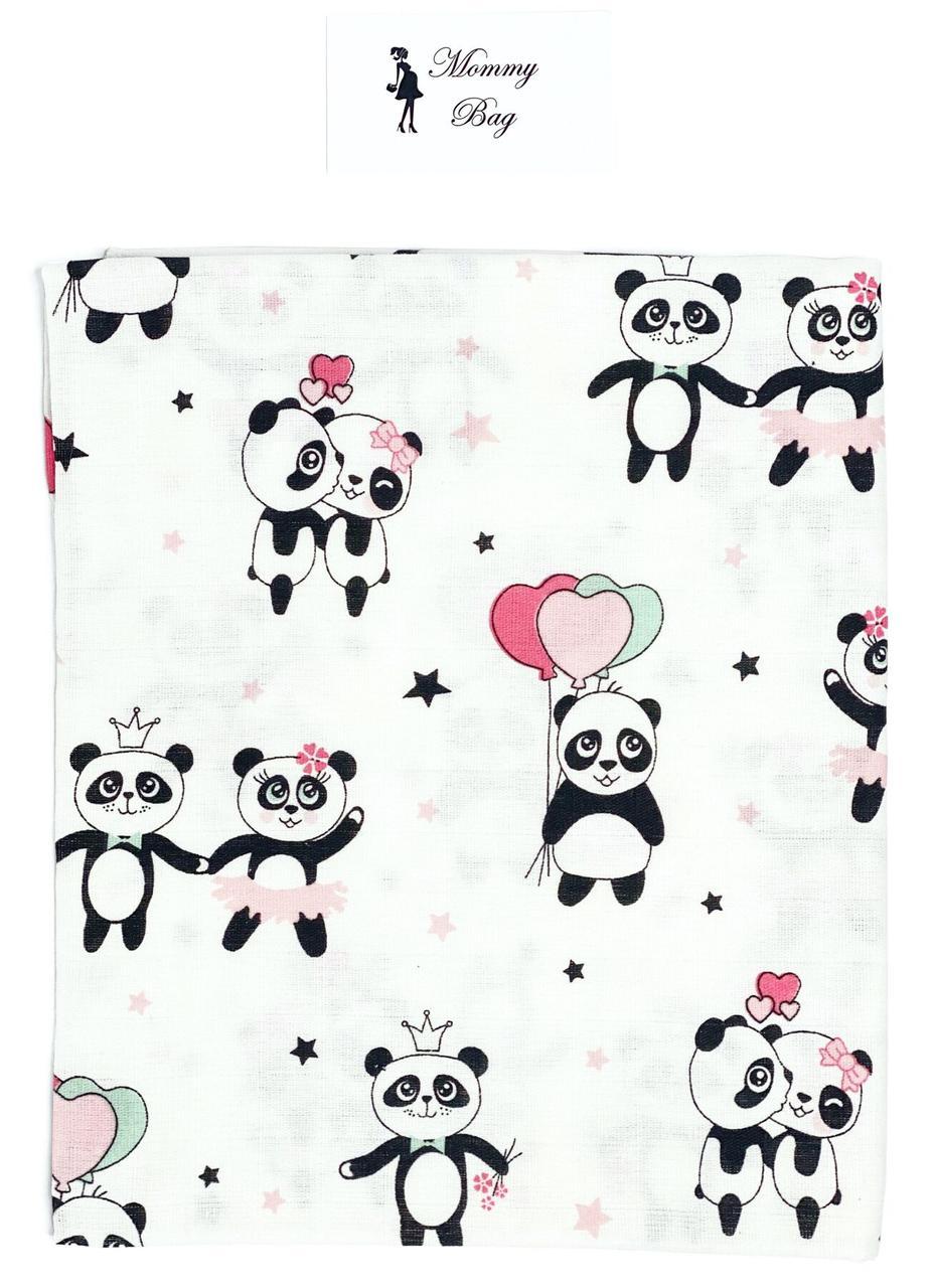 Муслиновая пеленка 100х80 см Панды Розовые #7