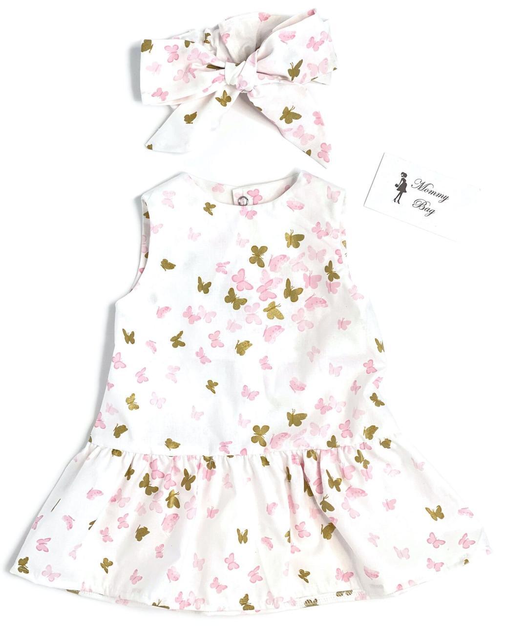 Платье с афробантом RoyalBaby Бабочки золотые р.62, 0-6 мес