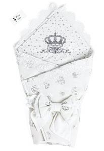 Конверт на выписку с вышивкой RoyalBaby Короны со звездочками