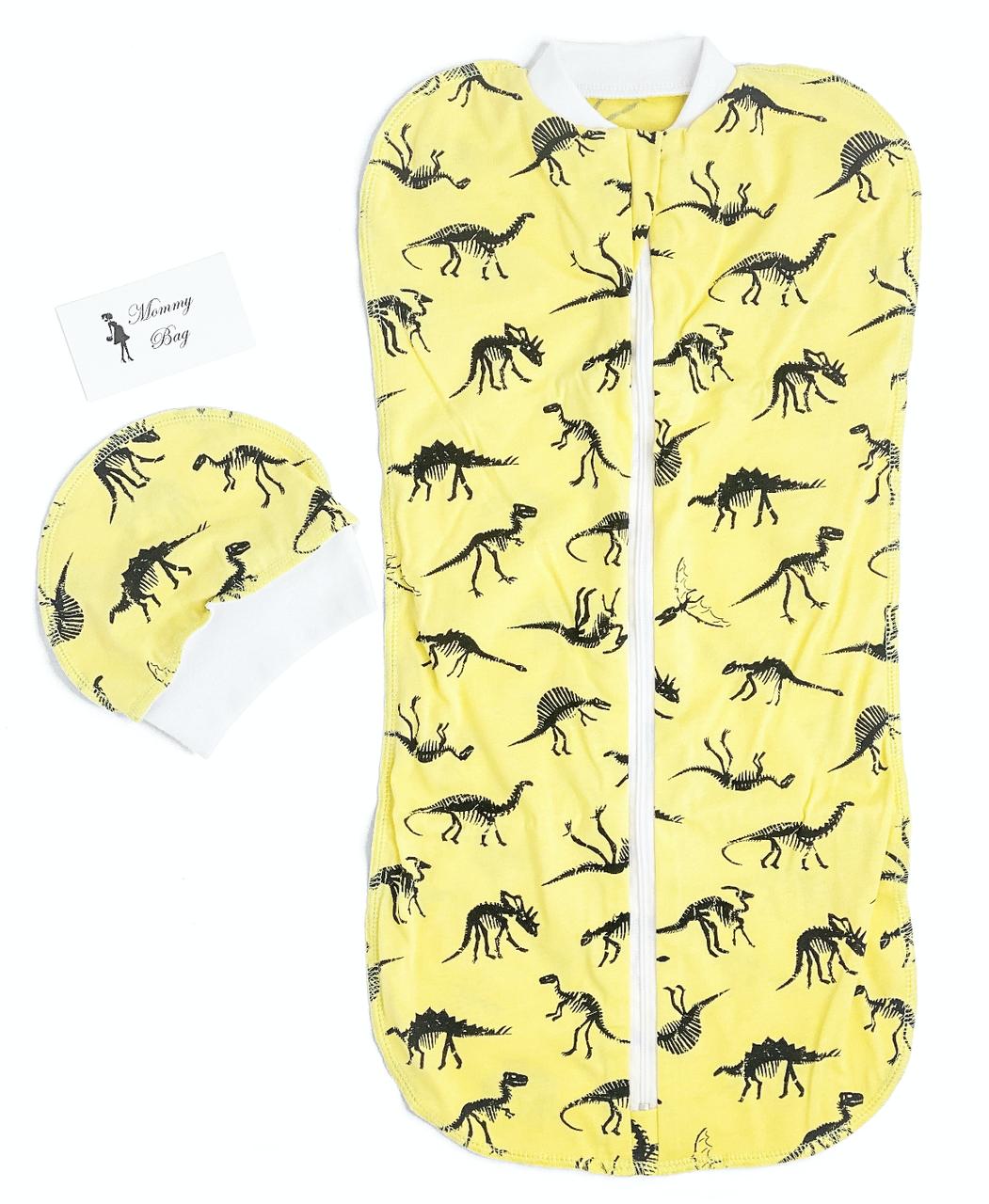 Евро-пеленка кокон на молнии с шапочкой Динозаврики #18