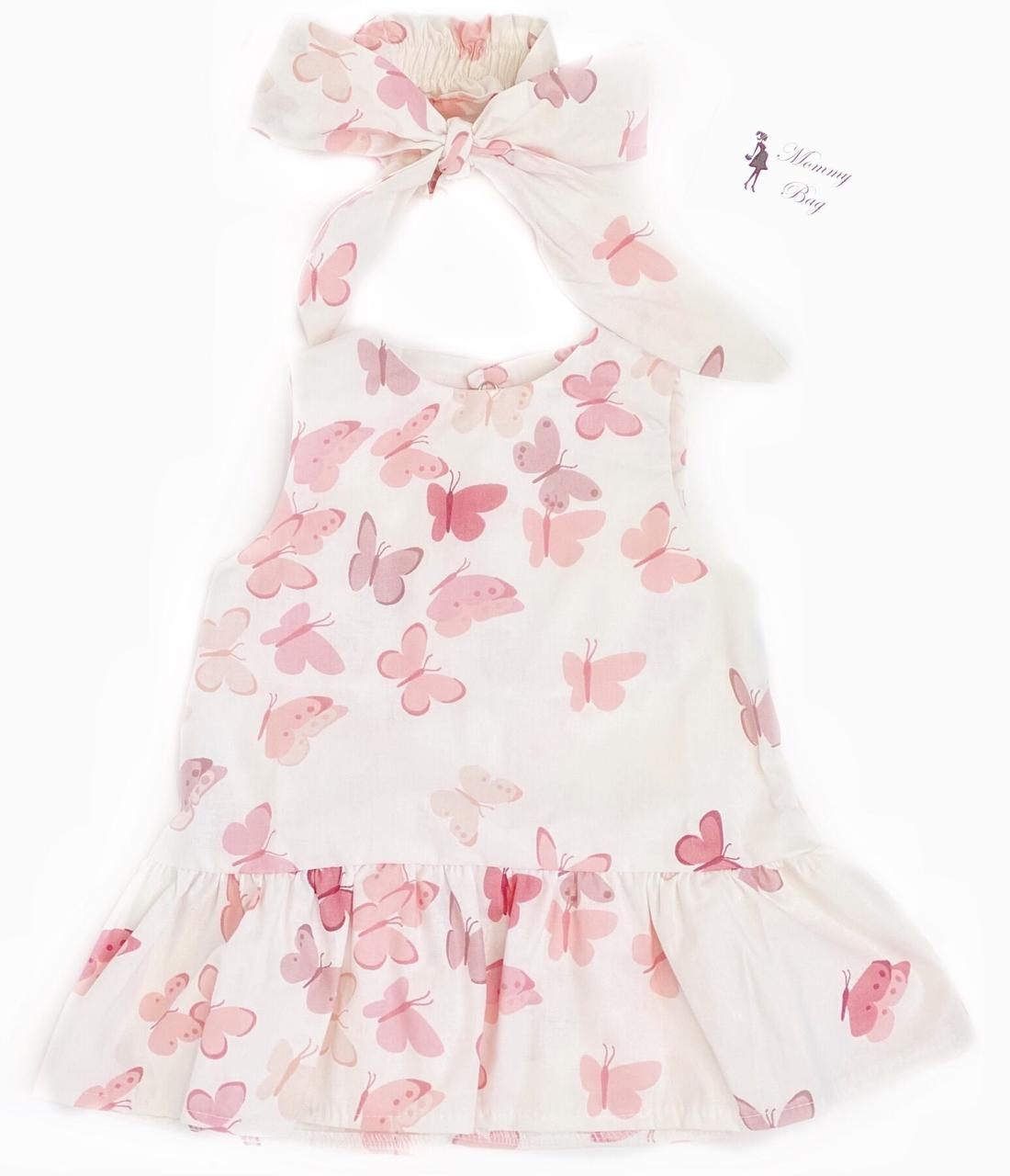 Платье с афробантом RoyalBaby Бабочки розовые р.62, 0-6 мес