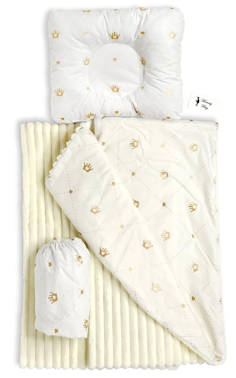 Набор в детскую кроватку 3в1 (простынь, плед, подушка) Золотые Короны №7