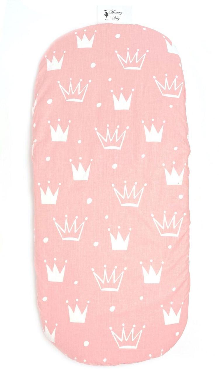Простынь на резинке в коляску Розовые Короны арт.КЛ-4