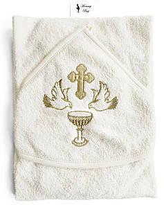 Крыжма-полотенце для крещения RoyalBaby Молочная купель с золотом
