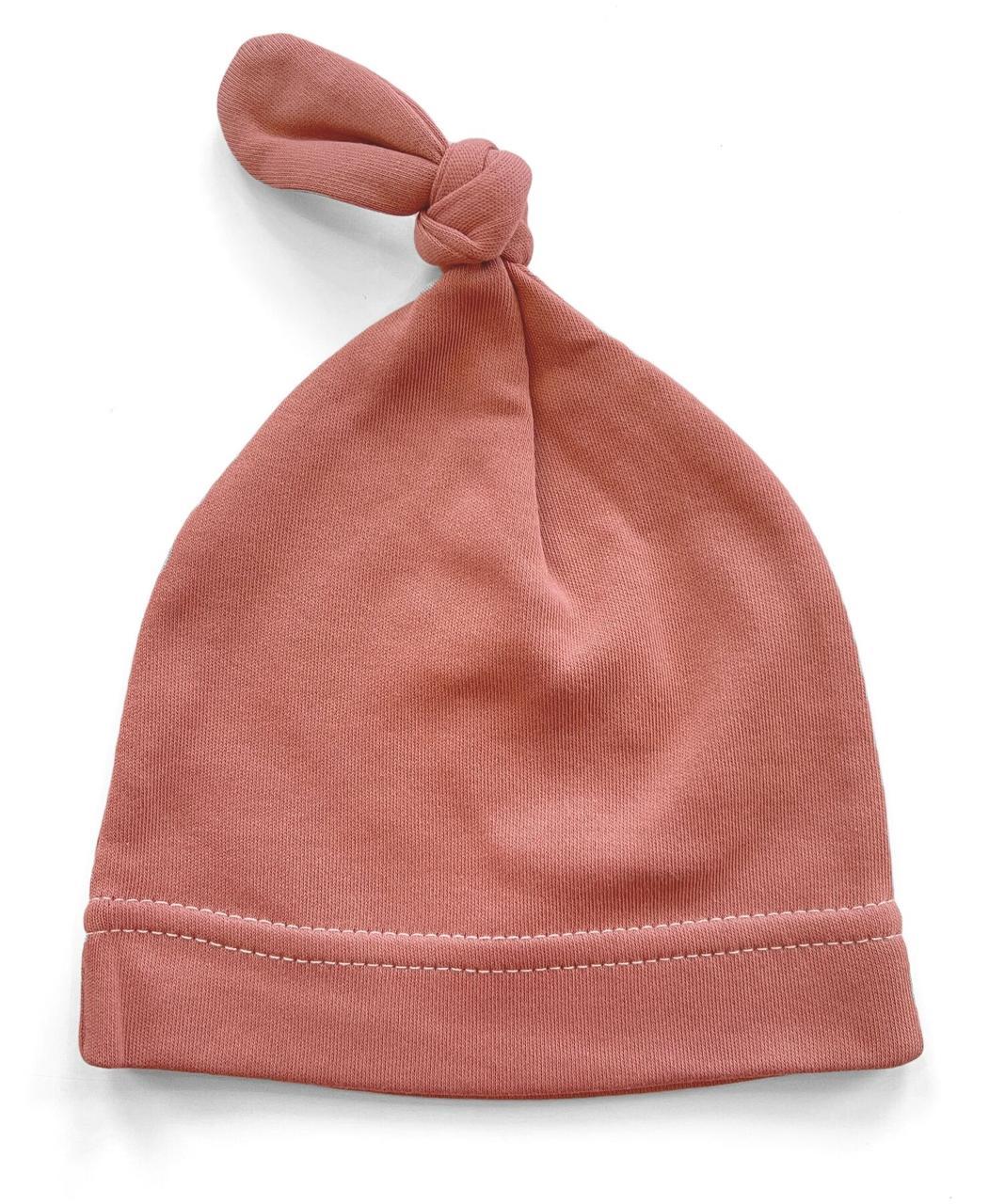 Шапочка Baby Body 0-6 мес Марсаловая с узелком №24