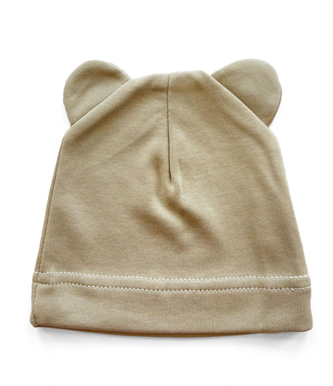 Шапочка Baby Body 0-6 мес Агатово-серая с ушками №27
