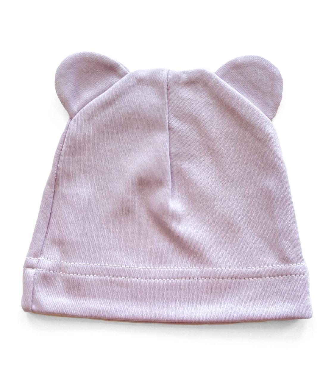 Шапочка Baby Body 0-6 мес Лавандовая с ушками №15