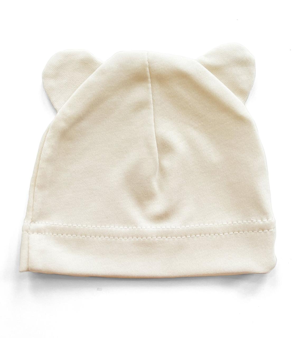 Шапочка Baby Body 0-6 мес Кремовая с ушками №17
