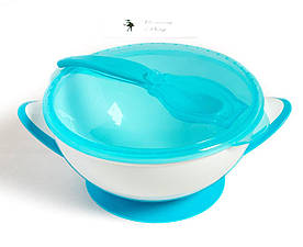 Мисочка-тарелка с присоской и ложечкой BabyOno Синяя