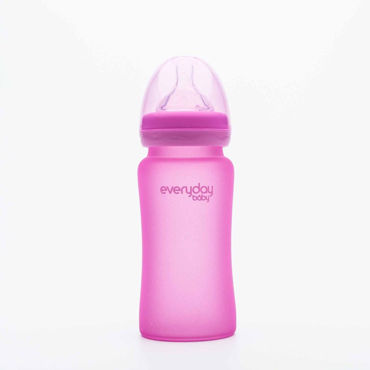 Стеклянная термочувствительная детская бутылочка Everyday Baby 240мл Фиолетовая