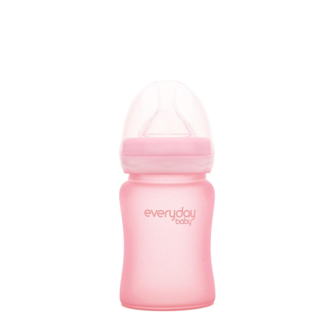 Стеклянная детская бутылочка с силиконовой защитой Everyday Baby 150мл Розовая