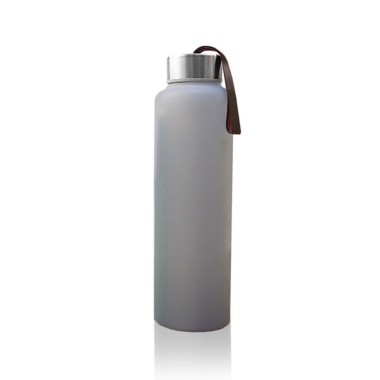 Стеклянная бутылка для воды с силиконовой защитой Everyday Baby 400мл Серая