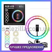 Кольцевая лампа RGB 33 см со штативом 2м для селфи Светодиодная кольцевая лампа для блогеров Лампа для Tik-Tok
