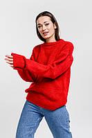 Женский вязаный джемпер с рукавами-буфами красный Arjen размер One Size (101811-OS)