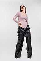 Женское боди в мелкий рубчик с длинными рукавами серо-розовое Arjen размер S (26420-Gro-S)
