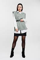 Женский трикотажный жилет с объемными плечиками оливковый Arjen размер One Size (26431-OS)