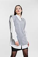 Женский трикотажный жилет с объемными плечиками светло-серый Arjen размер One Size (26431-OS)