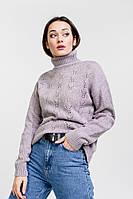 Женский вязаный свитер ажурный фиолетовый Arjen размер One Size (101821-OS)