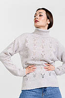 Женский вязаный свитер ажурный светло-фиолетовый Arjen размер One Size (101821-OS)