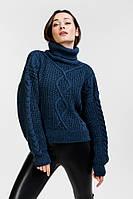 Женский вязаный свитер укороченный цвета темный джинс с ромбами Arjen размер One Size (101827-OS)