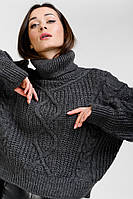 Женский вязаный свитер укороченный темно-серый с ромбами Arjen размер One Size (101827-OS)