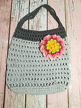 Сумка авоська с цветком, эко сумка шоппер, городская сумка для покупок, размер 35*40 см Цветок 3