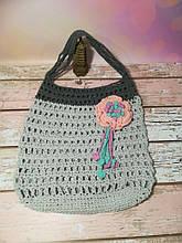 Сумка авоська с цветком, эко сумка шоппер, городская сумка для покупок, размер 35*40 см Цветок 1