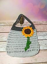 Сумка авоська с цветком, эко сумка шоппер, городская сумка для покупок, размер 35*40 см Подсолнух