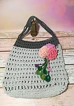 Сумка авоська с цветком, эко сумка шоппер, городская сумка для покупок, размер 35*40 см Розы