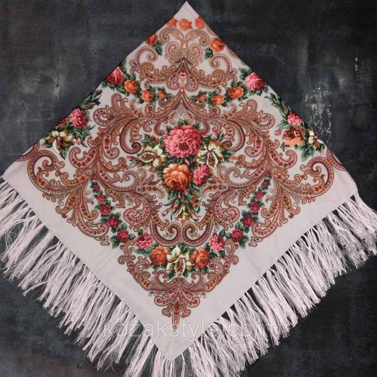 Народна хустка з бахромою (120х120) попелясто-рожева