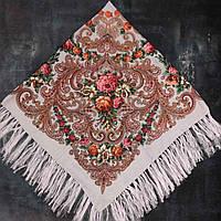 Народна хустка з бахромою (120х120) попелясто-рожева, фото 1