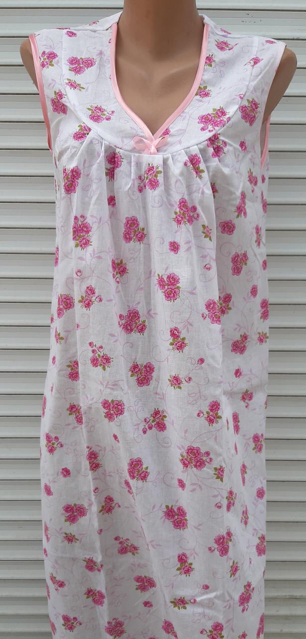 Ночная рубашка без рукава 50 размер Розовые букеты