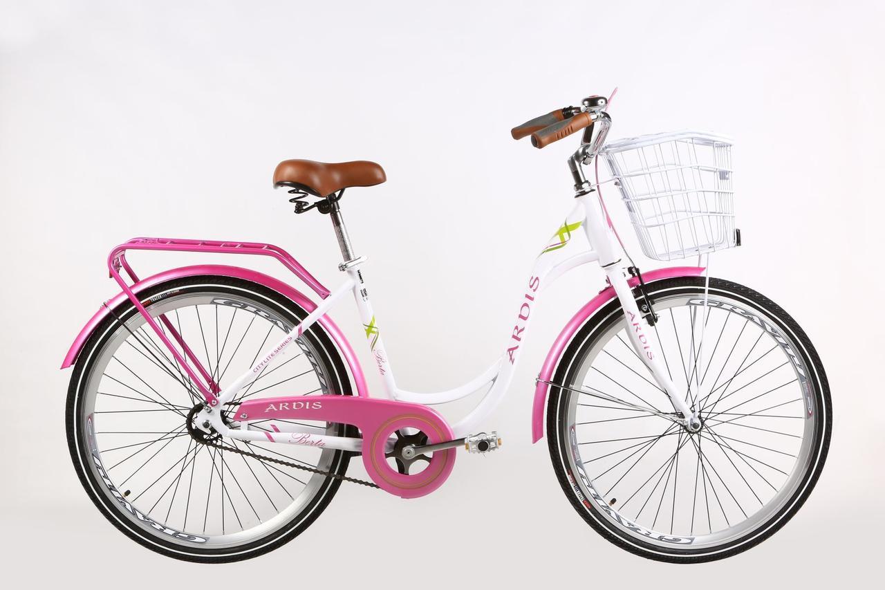 """Городской велосипед Ardis Berta 28"""" женский с корзиной и багажником, Бело-розовый"""