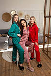 Шелковая пижама женская: рубашка на пуговицах и штаны, фото 2